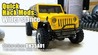Quick hack mods: Wider stance - Orlandoo OH35A01  1:35 scale micro Jeep