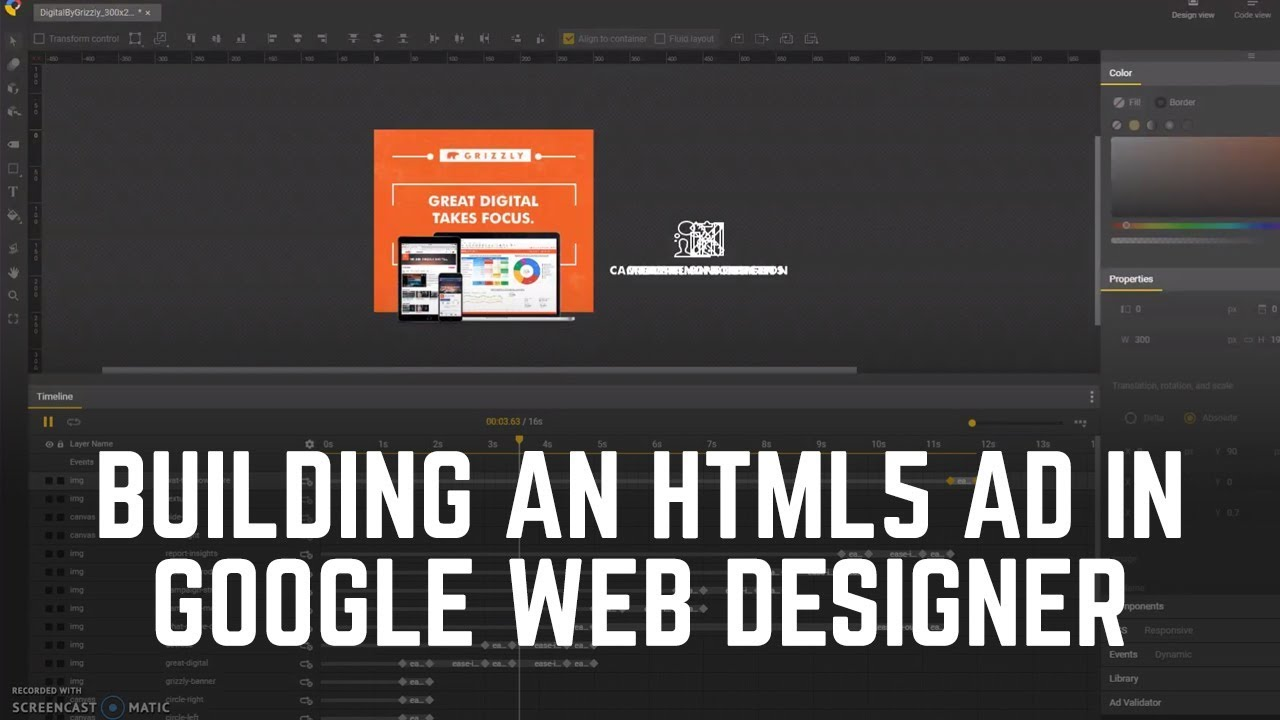 Google Web Designer Creating An Html5 Banner Ad Part 1 Youtube