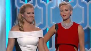 Golden Globes 2016 Jenifer lawrence and Amy Shumer funny :)