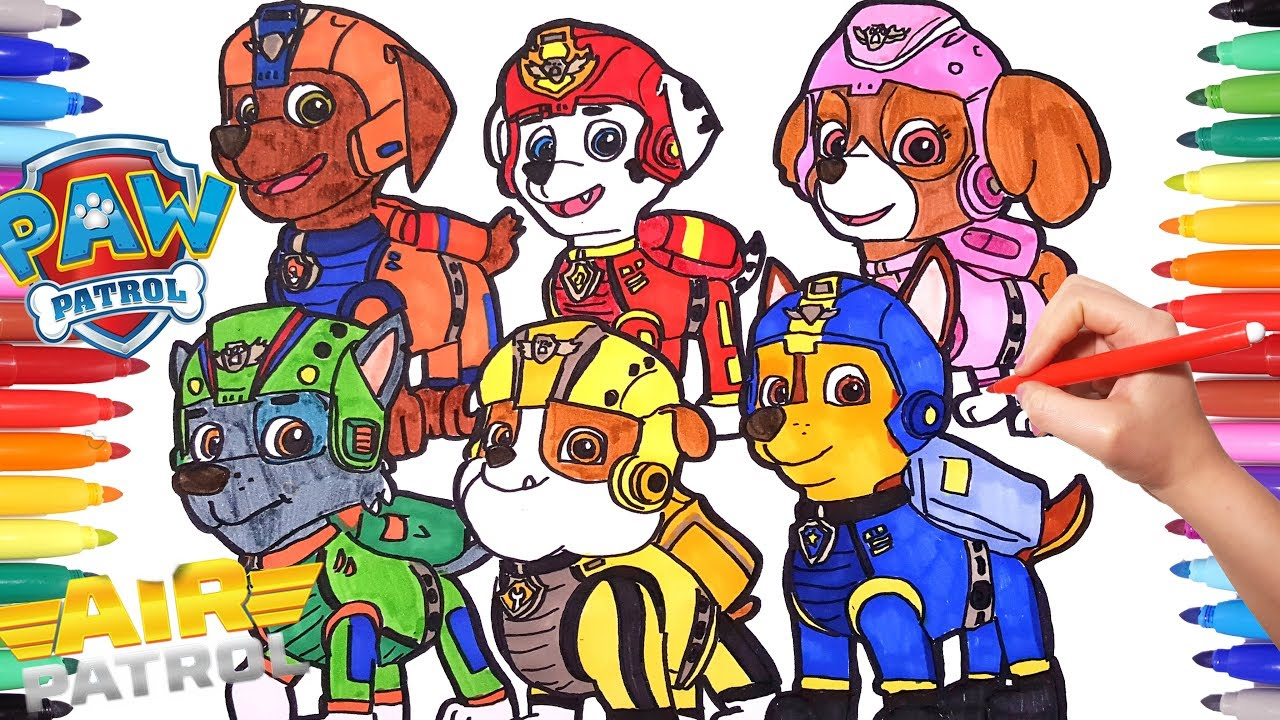Drawing And Coloring All Paw Patrol Air Adventures Paw