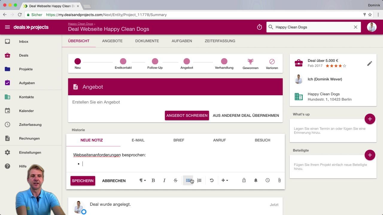 Erste Schritte Vertrieb Angebote Und Crm Mit Deals Projects