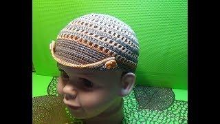 Вязание крючком кепка для мальчика #165