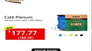 1000ft Cat6 Plenum CMP with Solid Conductors Ethernet Networking cable - Plenum rated Jacket