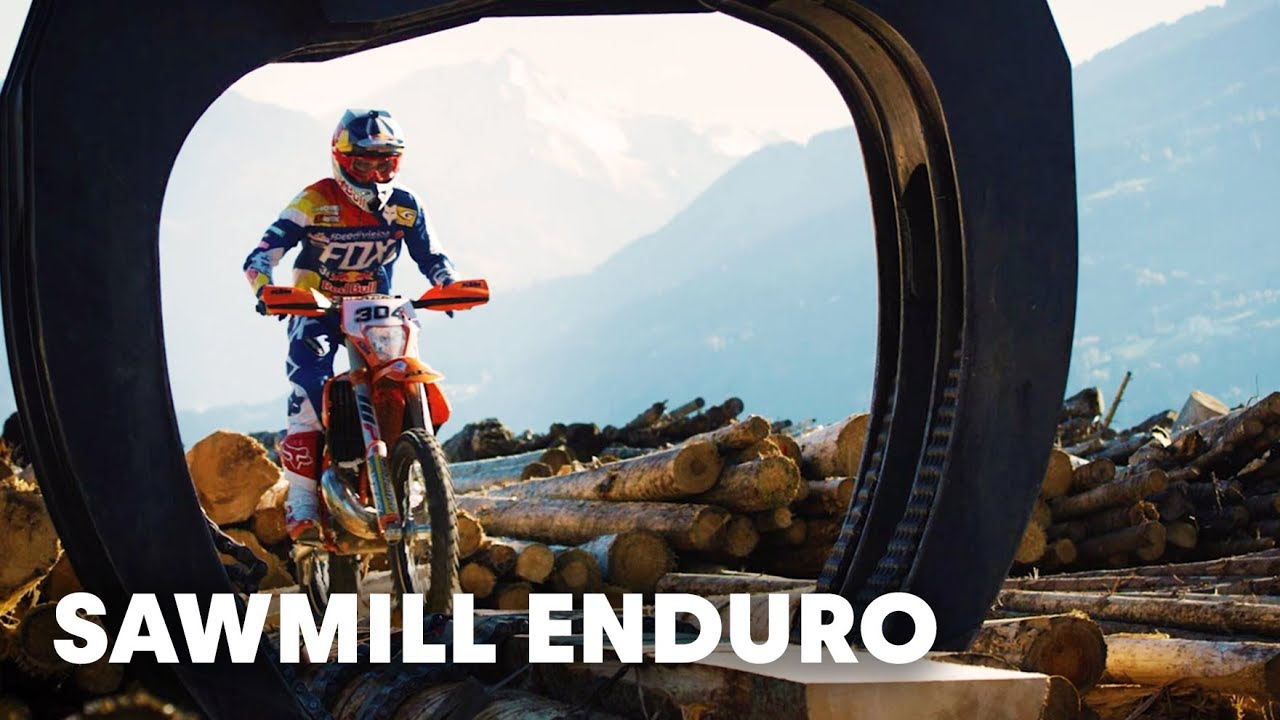 Going hard enduro in one of Europe's largest sawmills.