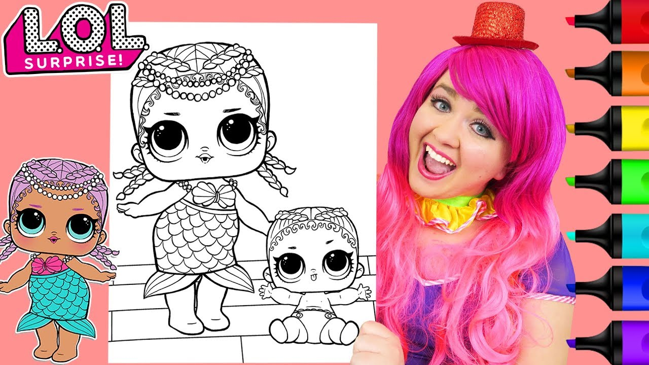 Coloring lol surprise dolls merbaby coloring page prismacolor markers kimmi the clown
