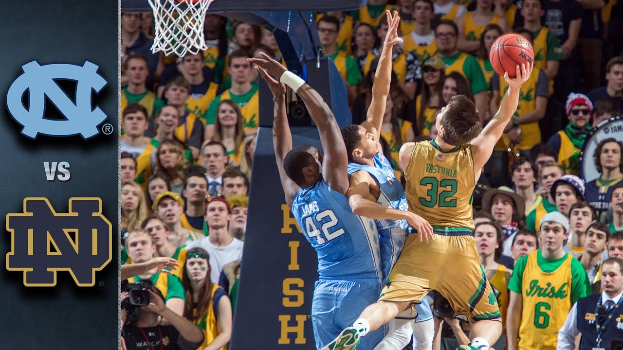 Image result for Notre Dame vs North Carolina College Basketball