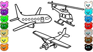 Coloring for Kids with Aircraft & Helicopter - Coloring Pages for Children