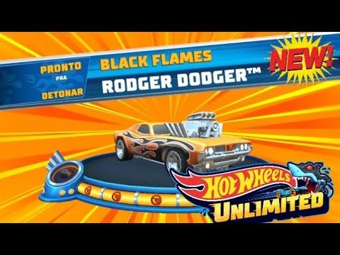 HOT WHEELS  BLACK FLAMES RODGER DODGER.  