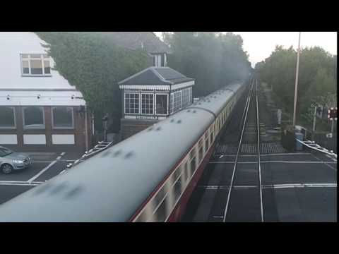 Merchant Navy Pacific 35028 Clan Line Steam train Petersfield Station July 9 2017