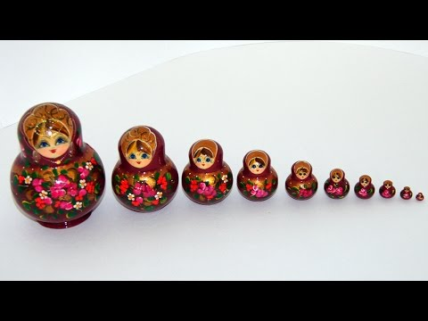 Забавная старинная русская игрушка кукла матрешка! Funny old Russian matryoshka doll toy!