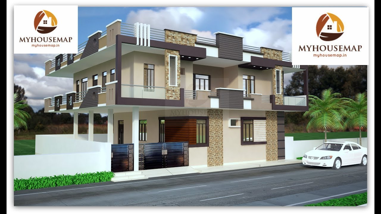 Top house design with stone tile grooves color with glass ss mix parapet indian house design