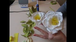 Открытая роза из фоамирана часть 2 Бутон розы и листья. Как сделать бутон розы и листья.