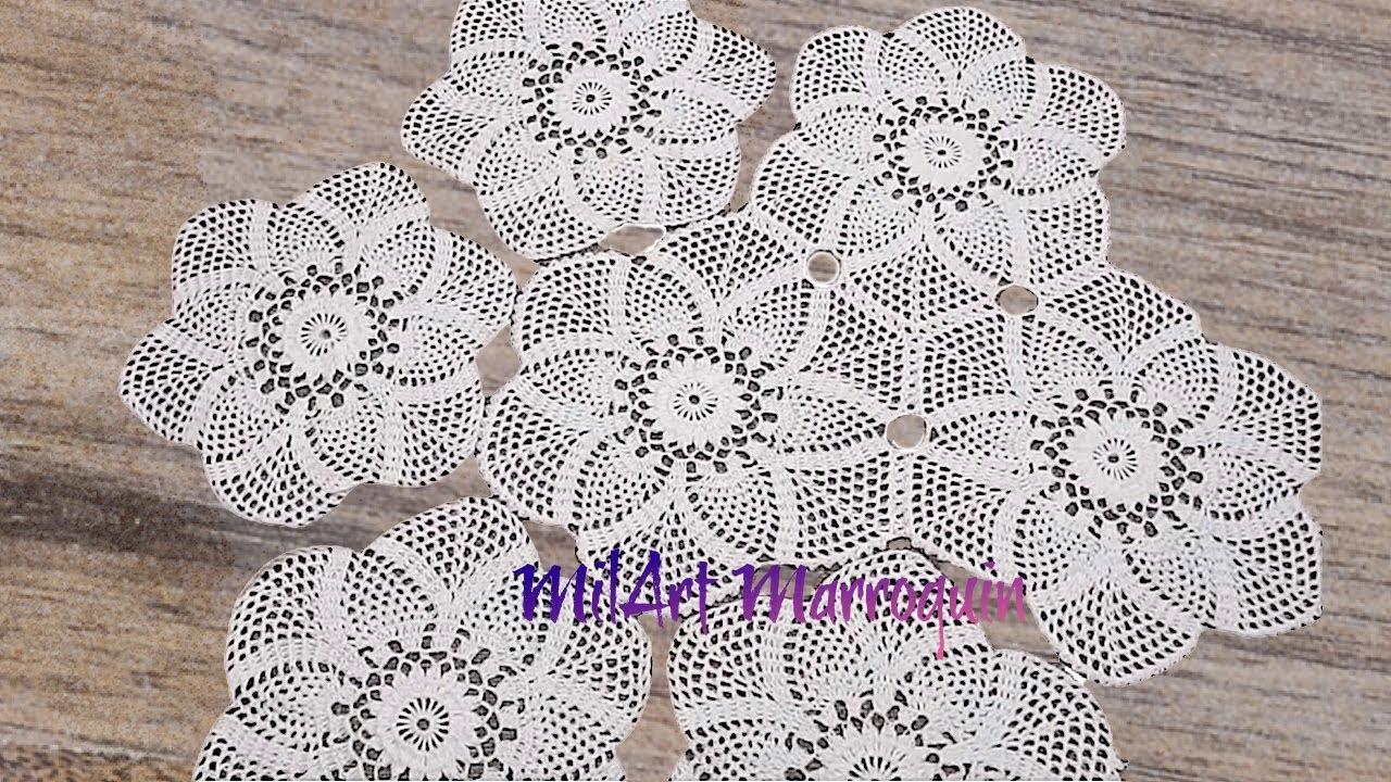 Mantel circular con tejido hexagonal de pi as youtube - Mantel de crochet ...
