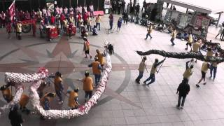 千葉県立流山高等学園・学習発表「龍踊り」 20140417 JR長崎駅かもめ広場