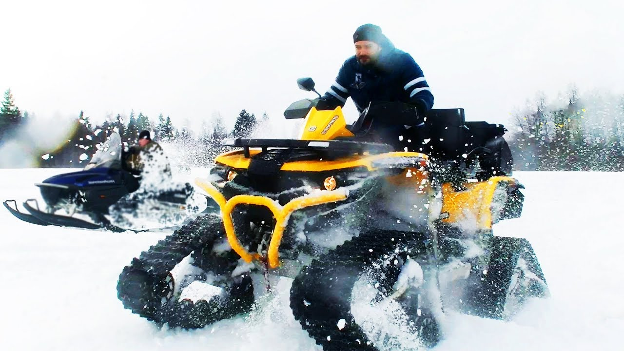 Quad With Tracks Vs Snowmobile Deep Snow Youtube