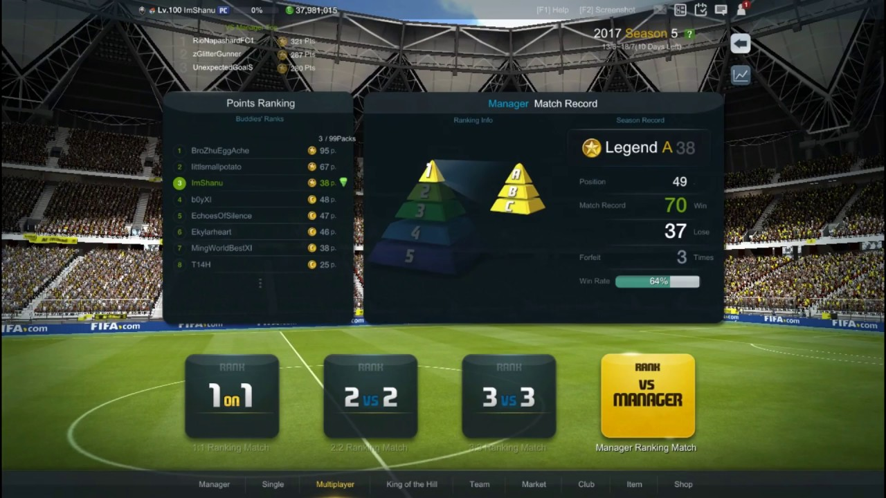 FIFA ONLINE 3 MANAGER RANKING LEGENDARY A STRATEGY FOR TOP 10(UPDATED)