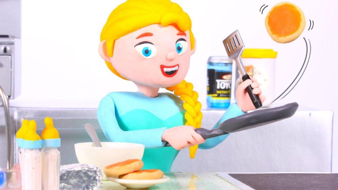 FROZEN ELSA MAKING PANCAKES ❤ Spiderman, Hulk & Frozen Elsa Play Doh Cartoons For Kids