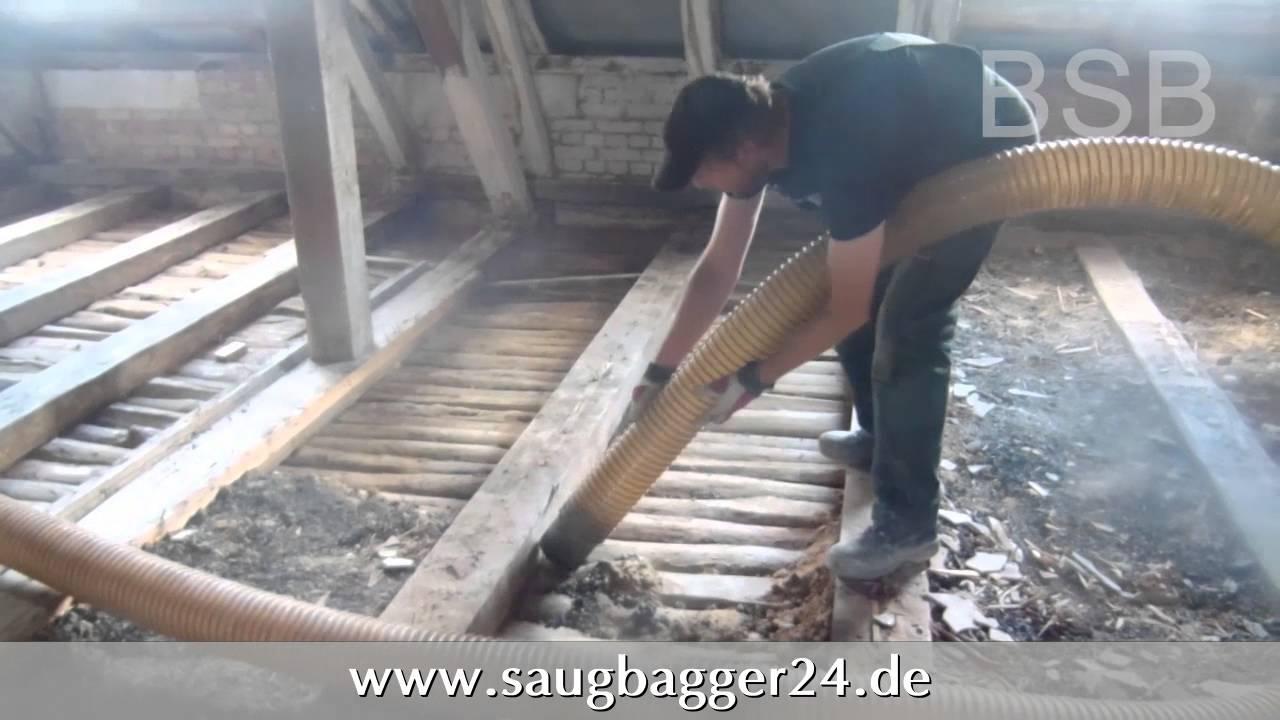 Dämmung Fußboden Schlacke ~ Absaugen von dachschlacke mit vakuumsauger youtube