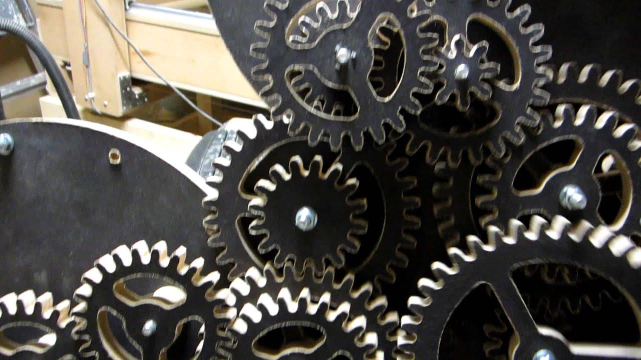 Complex wooden clock mechanism test run. DIY CNC Project ...