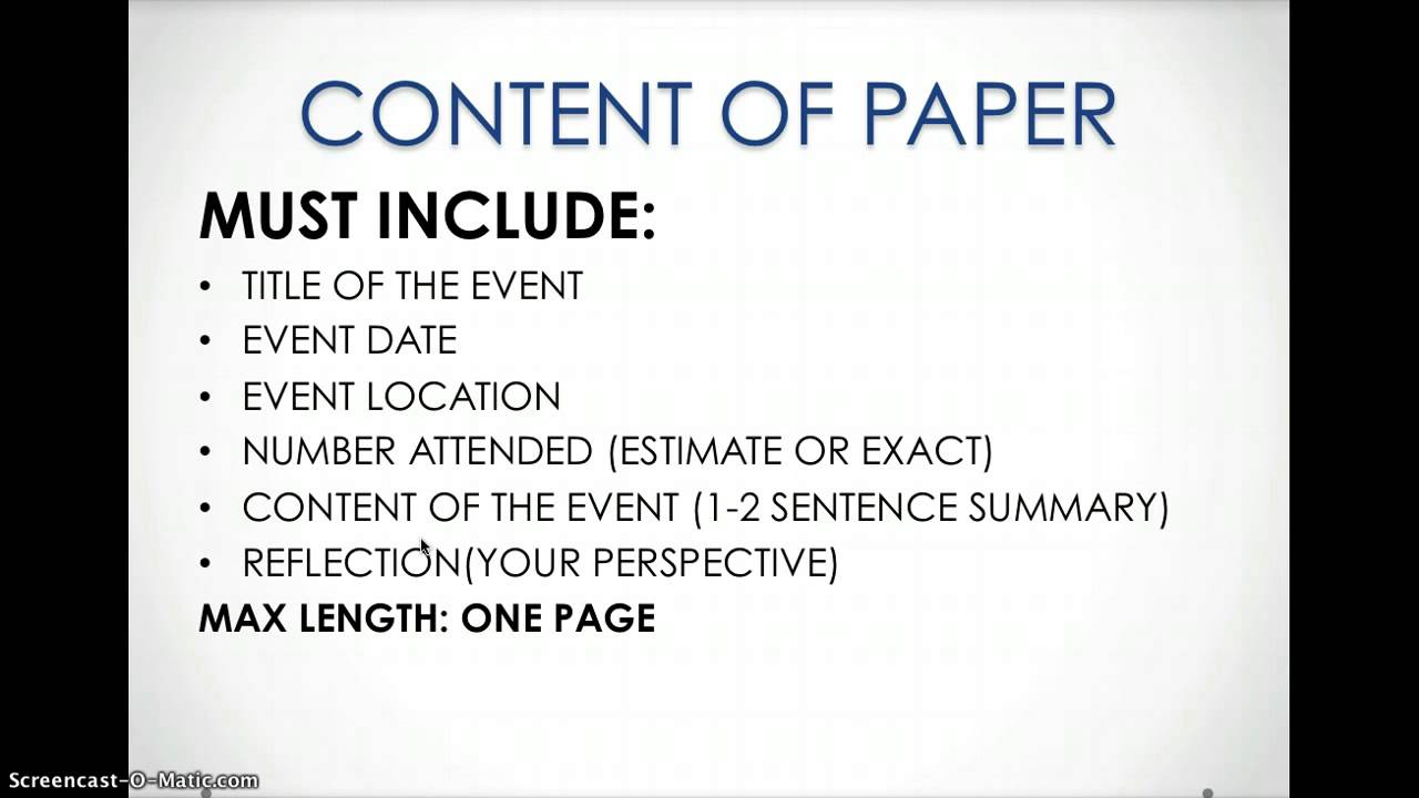 how to write an event reflection paper