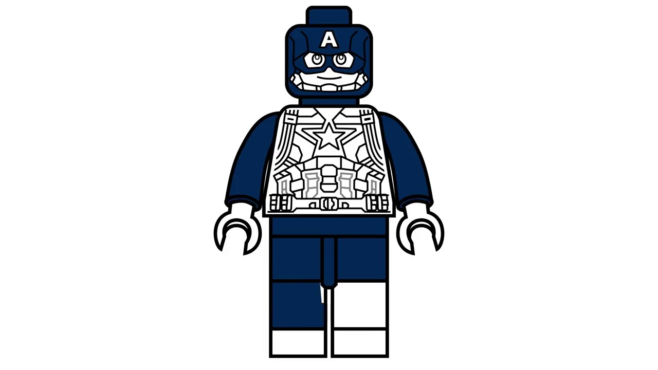 Printable Lego Marvel Superheroes Captain America Coloring: How To Draw Lego Captain America