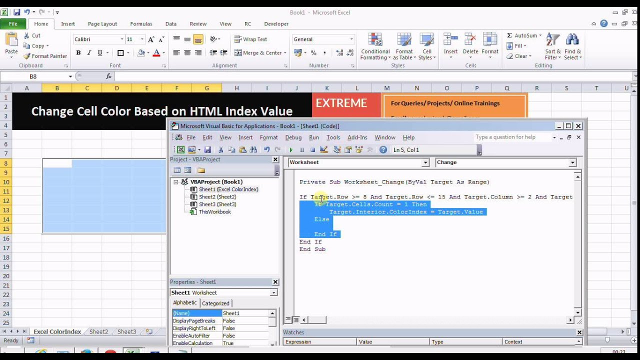 Excel vba change cell color with colorindex value youtube excel vba change cell color with colorindex value ibookread Read Online