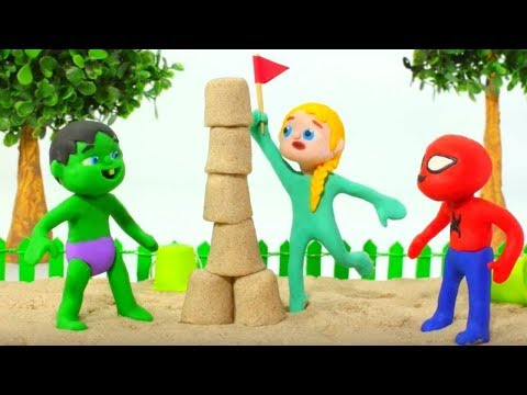 SUPERHERO BABIES PLAYING WITH SAND ❤ SUPERHERO PLAY DOH CARTOONS FOR KIDS