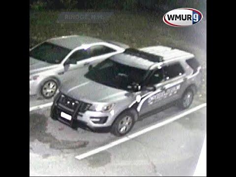 Surveillance video shows man vandalizing police cruiser in Rindge
