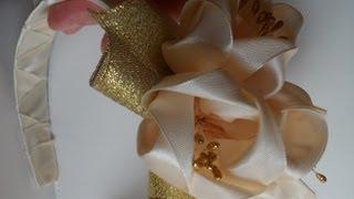 как сделать свадебный ободок для волос канзаши