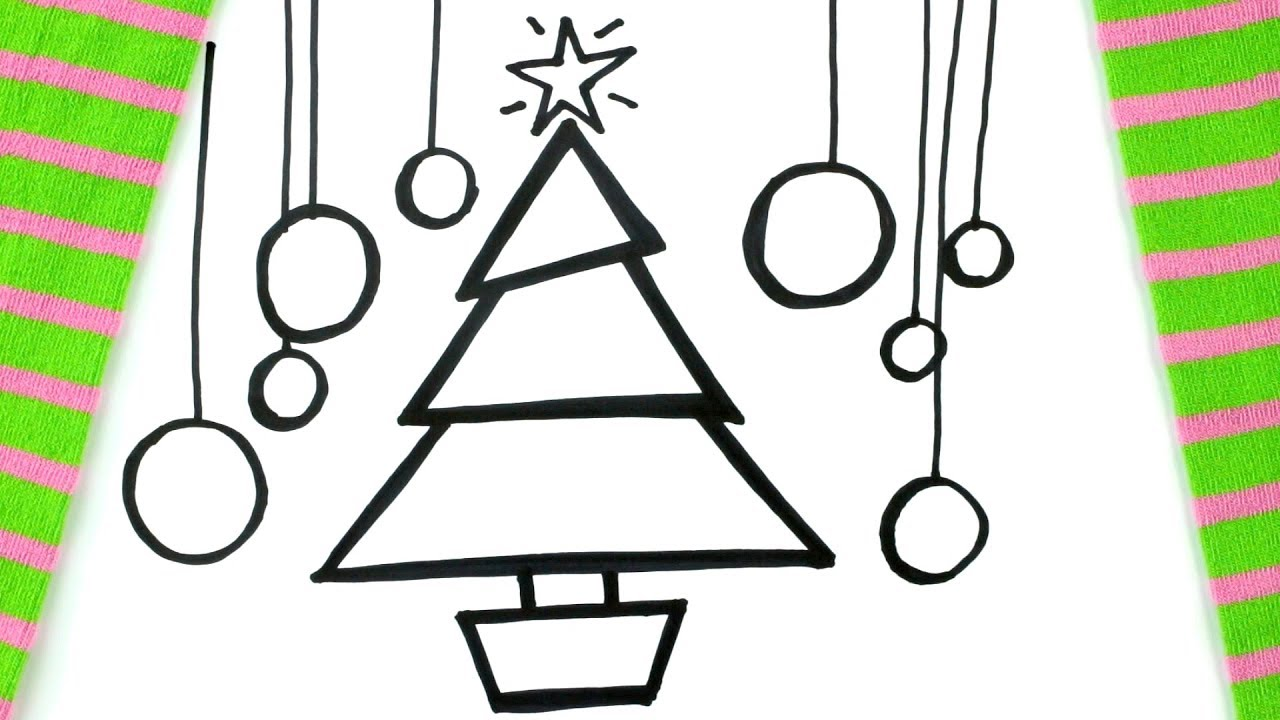How To Draw A Cartoon Christmas Tree Coloring Pages For Kids
