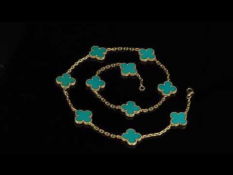 Van Cleef Arpels Turquoise Vintage Alhambra Gold Necklace | Opulent Jewelers