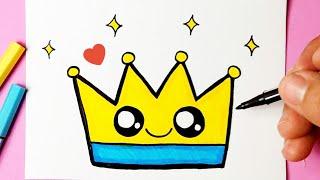 Como desenhar Coroa fofa Kawaii ❤ Desenhos Bonitos l Desenho para Desenhar