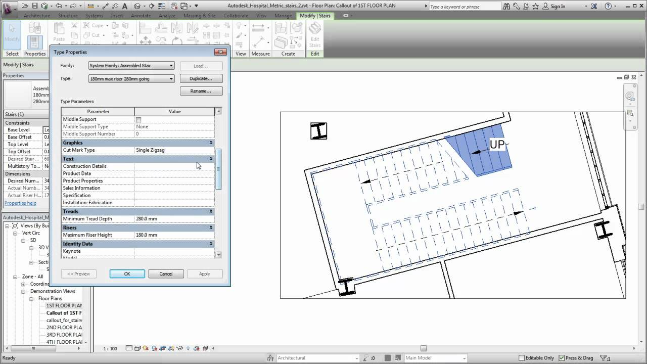 Drawing Lines In Revit : Autodesk revit modifying stair representation youtube