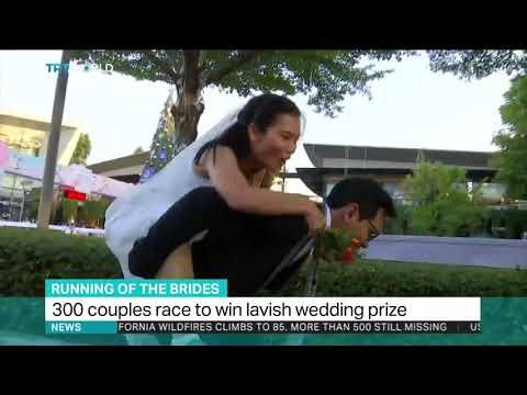 Women race to win lavish wedding prize in Bangkok
