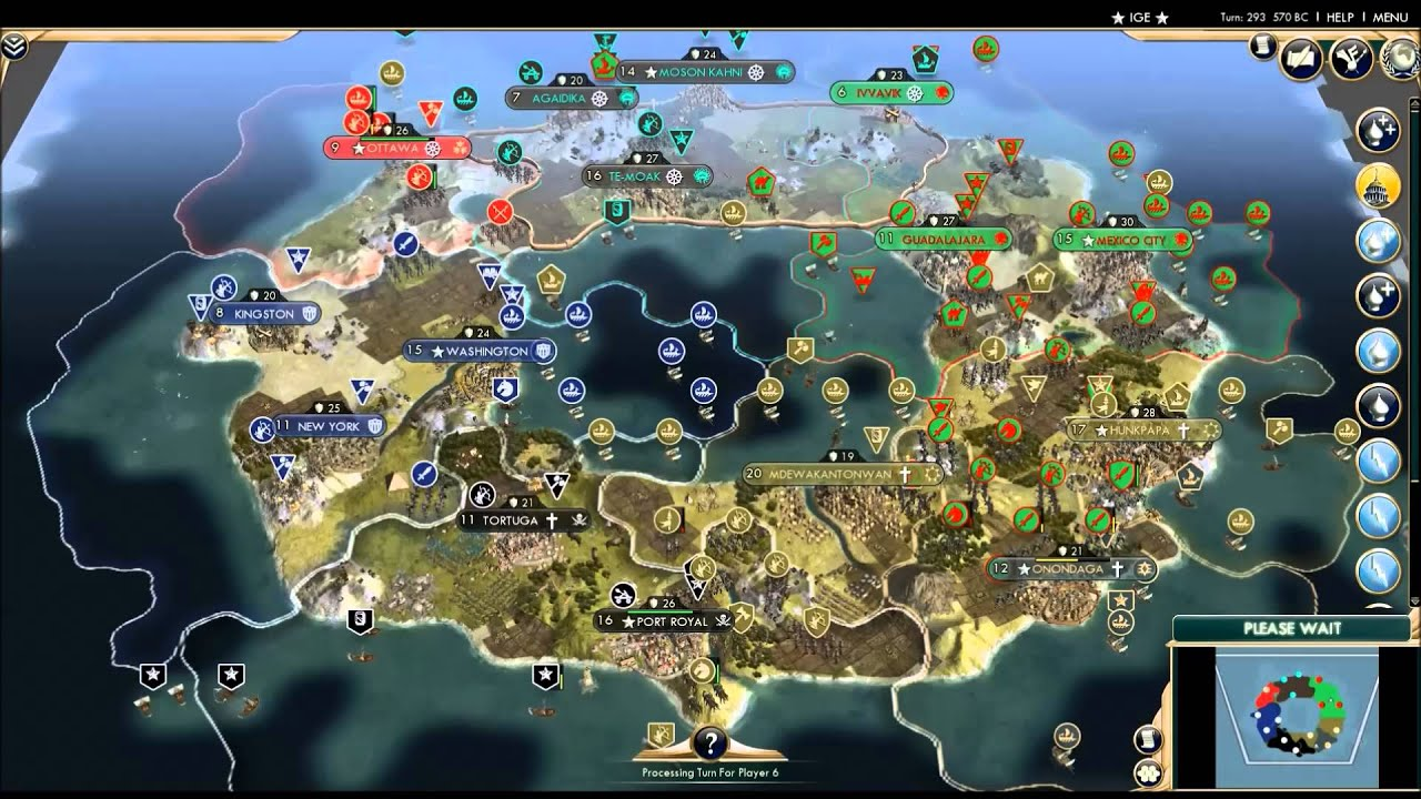 North American Civ AI Only Timelapse YouTube Civilization V - Us map north vs south