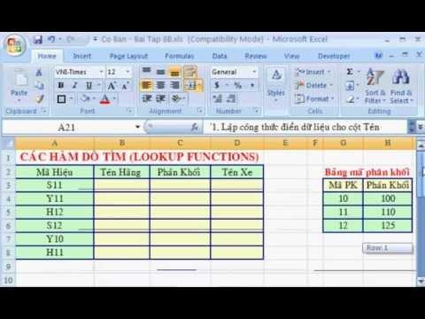 Bài tập về hàm dò tìm theo hàng ngang Hlookup