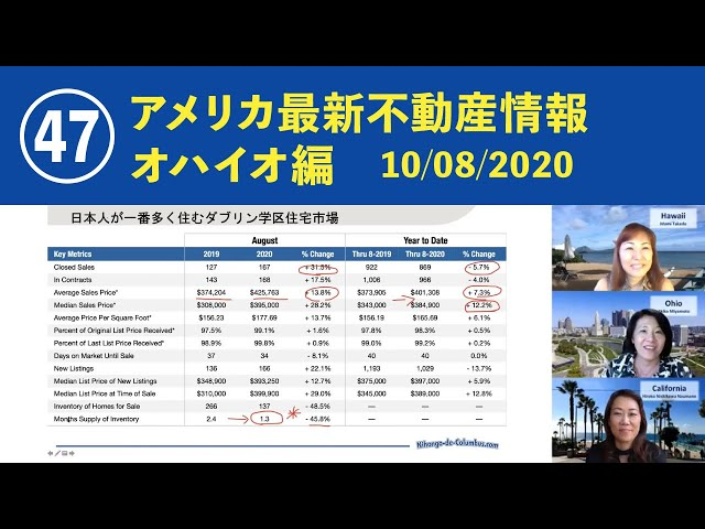㊼ アメリカ最新不動産情報 オハイオ編 10/08/2020 動画『日本語でUSA.』 アメリカ不動産をオハイオ、カリフォルニア、ハワイから読み解きます!