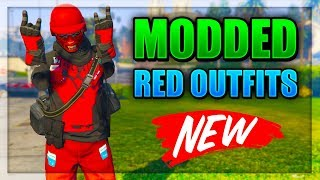 Top 3 Best Red TryHard & RnG Modded Outfits In GTA 5! (Best Clothing Glitches 1.44/1.45)