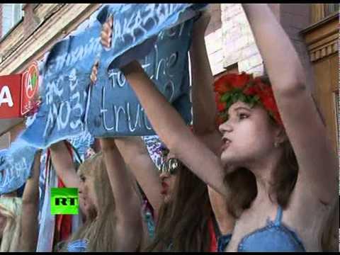 Semi-naked women protest censorship in Ukraine