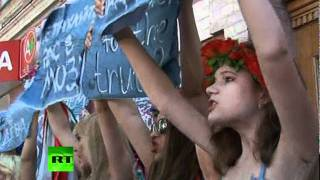 Semi-naked women protest censorship in Ukraine