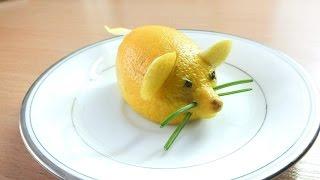 карвинг на фруктах лимон и мышка carving fruits