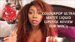 COLOURPOP ULTRA MATTE LIQUID LIPSTICK IN DEPTH REVIEW AND SWATCHES FOR WOMEN OF (DEEPER) COLOUR!