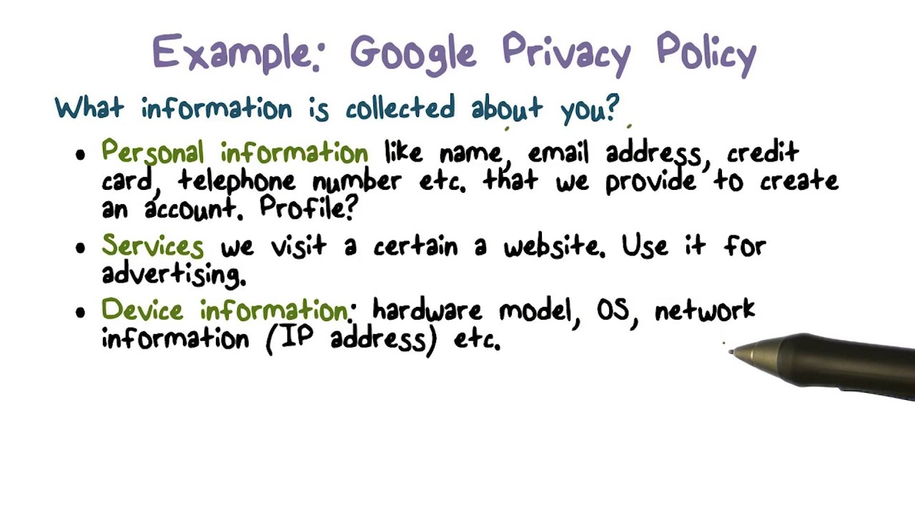 Example google privacy policy youtube for Data privacy policy template