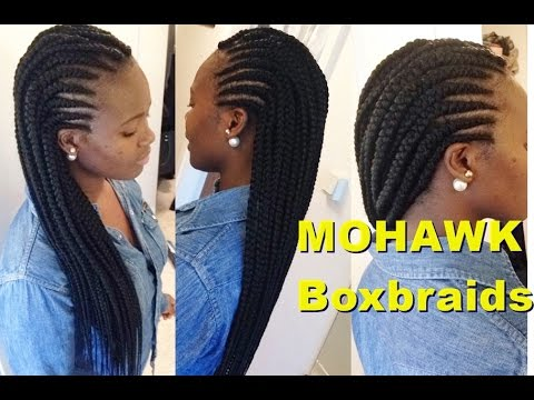 How To Make Big Box Braids Simple Mohawk Youtube