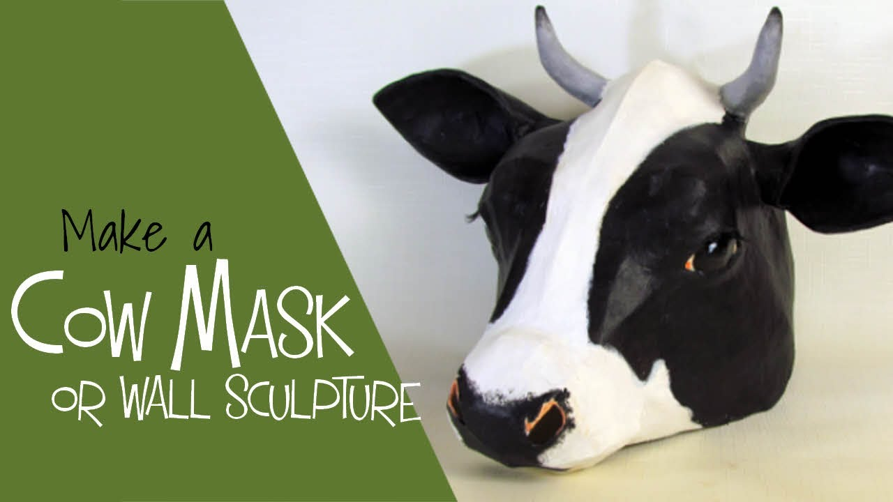 Paper Mache Cow Mask Made with Easy Pattern