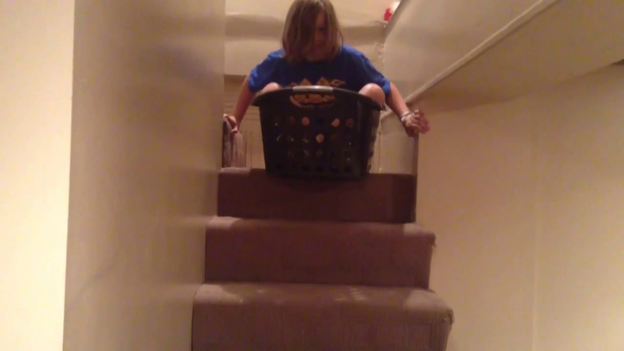 Laundry Basket Down Stairs Epic Fail!!!   YouTube