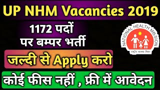 NHM UP Various Post Recruitment Online Form 2019 | UPNHM 1172 Vacancies 2019 By Kab Kya Kaise
