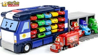Learning Color Disney Cars Lightning McQueen Mack Truck police car carrier Play for kids car toys