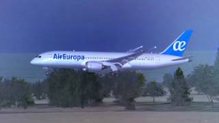 FSX - Air Europa Boeing 787 landing in Barcelona, Spain 🇪🇸