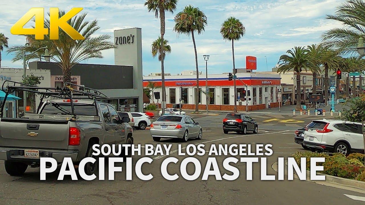 4K Driving Pacific Coastline - Redondo, Hermosa, Manhattan, El Porto, Los Angeles, California, USA